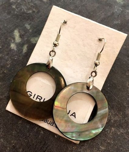 Earrings - Black Mother of Pearl Hollow (creamy browns) - WERE £16 ME02-H